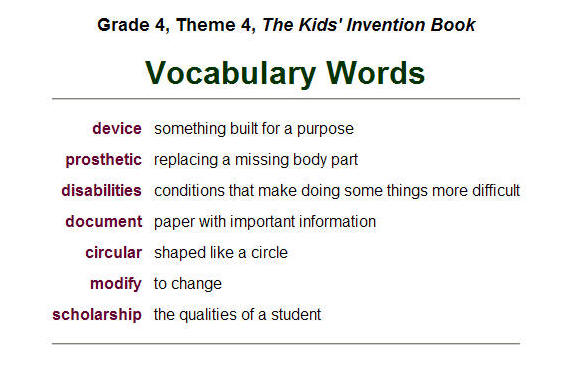 4th Grade Vocabulary Words And Definitions - Worksheets Organized ...